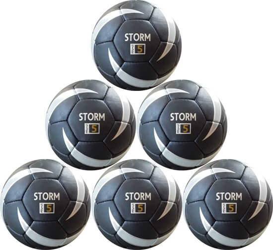Picture of Storm Match Soccer Ball Six Pack  - Hand Stitched - PU  Size 5 - Black, Silver -