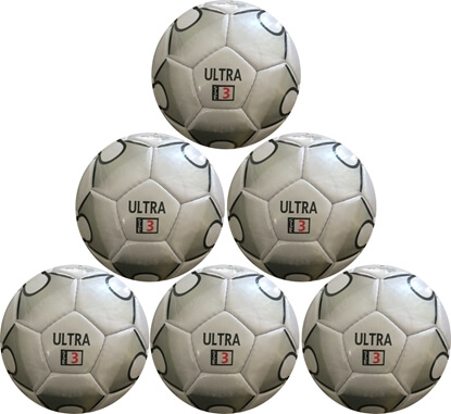 Picture of Ultra Soccer Ball - Six Pack - Synthetic PU Leather - Latex Bladder - Soft Touch Silver