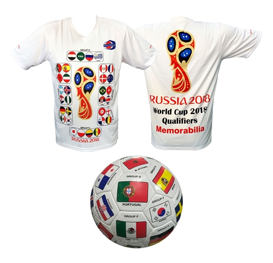 Picture of Soccer Jersey & Size 5 Soccer Ball With 2018 Qualifiers Categorized With Groups Gift For Soccer Fans (Multi Color Flags Soccer Ball)
