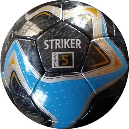 Picture of Striker Hand Stitched Soccer ball with Blue, Black, and Gold Pattern