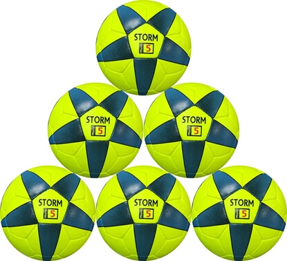 Picture of Storm Match Soccer Ball - Hand Stitched - PU  Size 5 - Yellow Blue  Bulk Soccer Balls, six pack