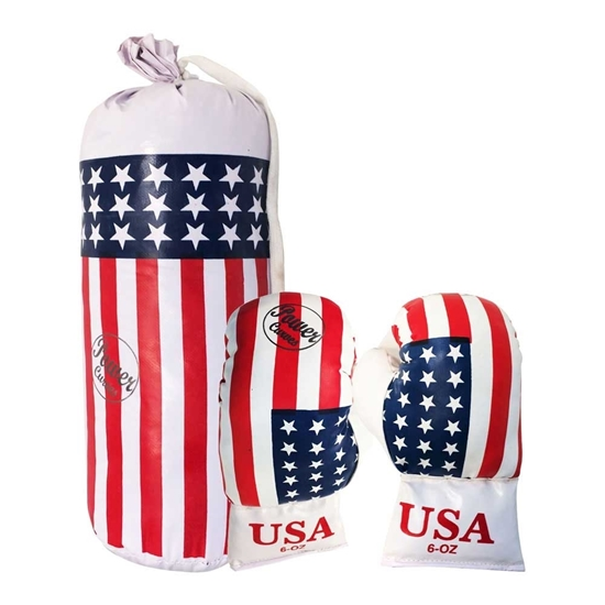Picture of Boxing Gift Set For Kids American Theme Boxing Gloves & Punching Bag Martial Arts MMA