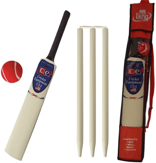 Picture of CE Kids Cricket Gift Set Young American Includes Wooden Cricket Bat Tennis Ball Stumps and Bag Size 4 &  Size 6