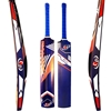 Picture of Tape Tennis Ball Full Size Adult Cricket Bat BLUE Painted Wood Light Weight White Curved Wooden Bat Size Short Handle