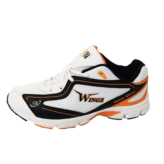 Picture of Wingz Quick Silver Rubber Sole Cricket Sports Shoes Color Orange Black White By CE