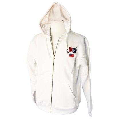 Picture of White Fleece Hoodie for Men - Sweatshirt with Silver Zipper USA Flag & CE Logo