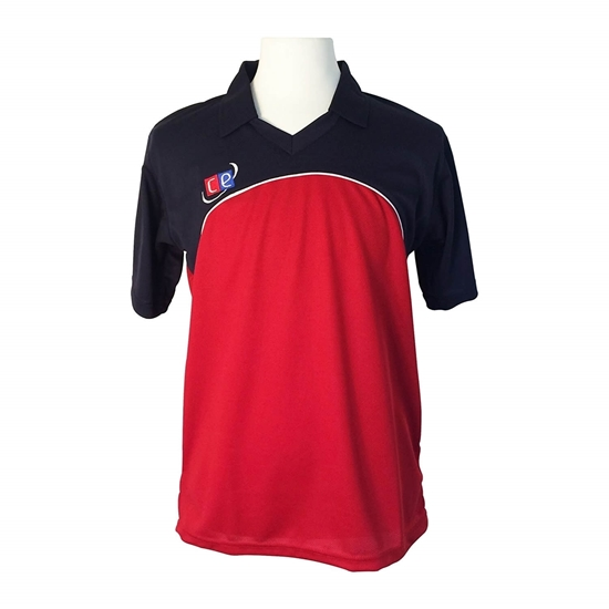 Picture of Colored Cricket Kit Shirts, England Colors Navy & Red, Half Sleeves