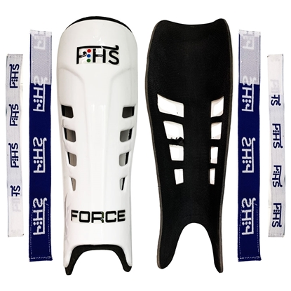 Picture of Field Hockey Shin Guards FORCE Color White Available Sizes Small Medium Large With Shin Guard Straps