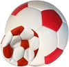 Picture of Bulk Deflated Red & White Classic Traditional Soccer Balls Based On Volume Old School Balls