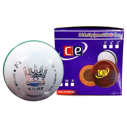 Picture of Cricket Ball Fireworks White Leather by Cricket Equipment USA