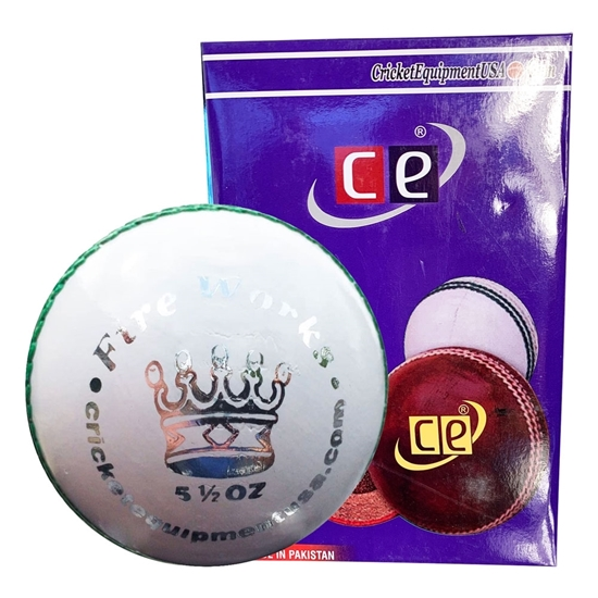 Picture of Cricket Ball Fireworks White Leather for T20 Cricket Matches Tournaments and Practice Six Pack