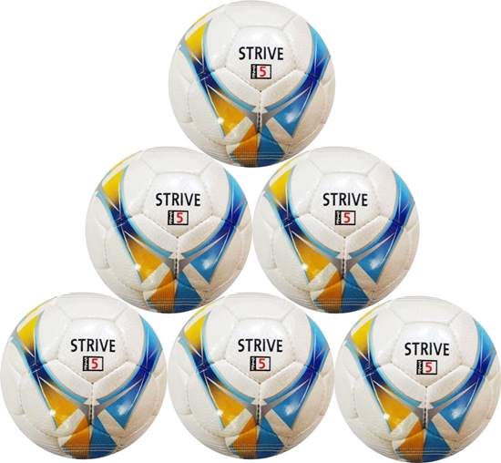 Picture of Strive Hand-Stitched Professional Match Soccer Ball Size 5 - Six Pack - Blue and Yellow